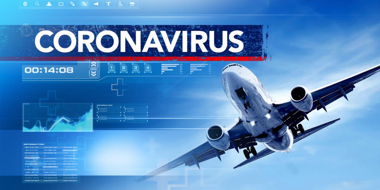 Image of Airplane with Coronavirus headline