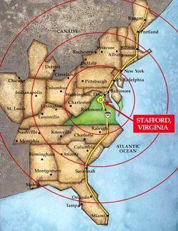 image of Stafford, VA on map